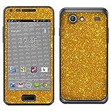 atFoliX Skin Compatibile con Samsung Galaxy S Advance GT-I9070, Sticker Pelle (FX-Glitter-Golden-Fleece), Pellicola Glitter Riflettente