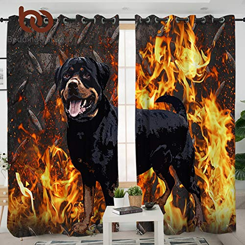 ZKYB Rottweiler Schlafzimmer Vorhänge 3D Animal Print Blackout Vorhänge für Wohnzimmer Fire Dog Vorhänge
