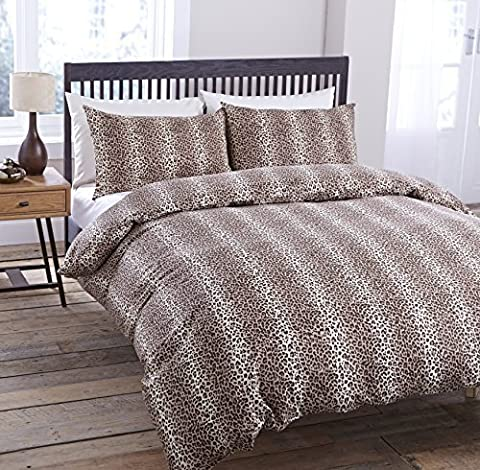 LUXURY ANIMAL LEOPARD FAUX FUR SKIN PRINT BROWN CREAM DUVET SET QUILT COVER PILLOWCASE BEDDING 3 SIZES (Double) by Pieridae