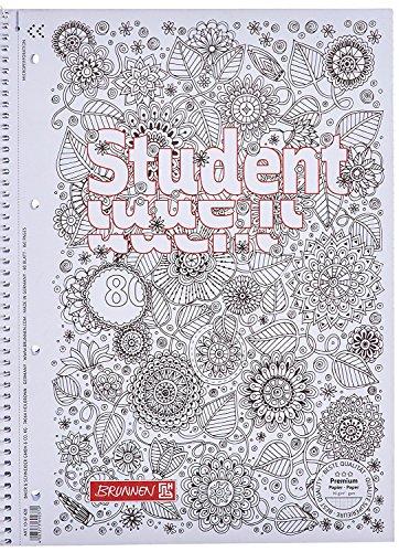 10 Blöcke Brunnen 1067427 Notizblock/Collegeblock Student Zenart (A4, kariert Lineatur 28, 90 g/m², 80 Blatt)