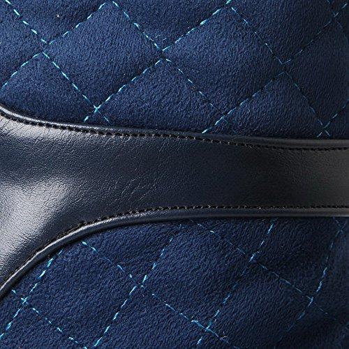 VogueZone009 Donna Tirare Tacco Alto Tessuto Lucido Chiodato Media Altezza Stivali Azzurro