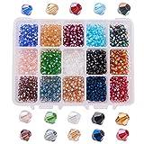 PandaHall Elite - 1800 Pcs 15 Couleurs Perles de Verre à Facettes 4mm Perle Bicone Plaqué de Couleur AB, Trou: 1mm...