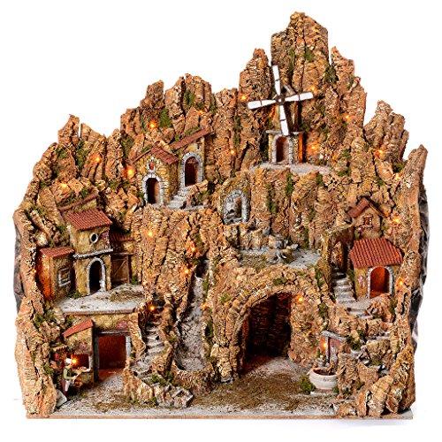 Pueblo Belén Napolitano Iluminado Molino, Gruta, Pizzería 105x95x85 cm