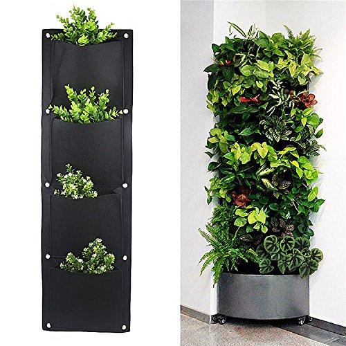 Yunhigh supporto a parete con 4 tasche per fiori o piante, per interno o esterno, supporto a parete, da balcone, vaso per piante 4 Pocket