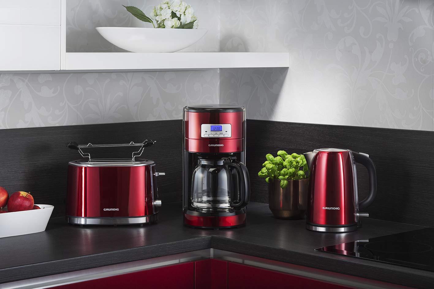 Grundig-KM-6330-Kaffeemaschine-Red-Sense-Digitaluhr-programmierbare-Startzeit-metallic-rot