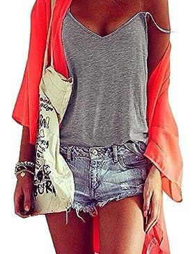 Rcool Mujeres Verano Chaleco Top Blusa Sin Mangas de la Camisa Camiseta Casual de la Tapa del Tanque