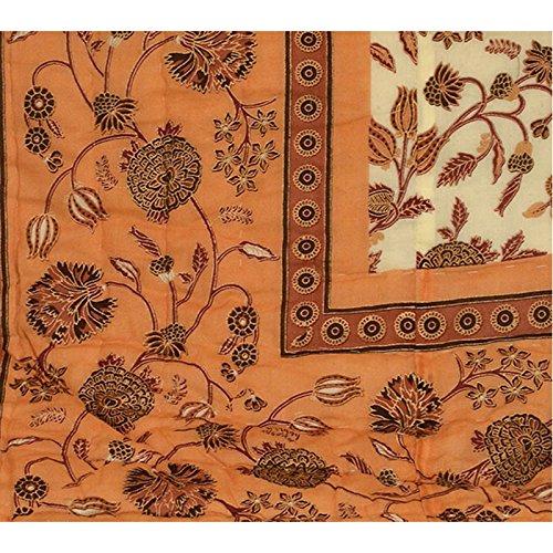 Stole & Yarn Brown Round Flower Double Bed Soft Indian Quilt Jaipuri Razai Blanket Cotton Rajai Light Weight Blanket Printed Dohar Comforter