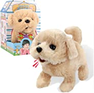 Liberty Imports Plush Golden Retriever Toy Puppy Electronic Interactive Pet Dog - Walking, Barking, Tail Wagging, Stretching