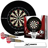 TW24 Dart Turnier Set mit Surround Ring - Dartscheibe - Steeldarts- Surround Ring - Abwurflinie