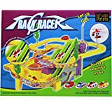 MousePotato Track Racer Set With 4 Miniature Cars Rotating Helicopter And Thrilling Sound