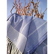 Fouta Toalla hammam 'Playa' | lujoso modelo extra grande de toalla de baño / sauna | muy absorbente y ligero | azul o gris | 100x180 cm| 100 % algodón de excelente calidad con un fino motivo de espigas (azul (jeans))
