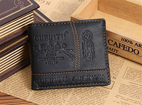 Geldbörsen Herren | PU-Leder Geldbörse | Wallet | Portemonnaie | Brieftasche | Portmonee | Geldbeutel | Vintage Geldsack | Kartenhalter | Kartenetui | Geldklammer von GUBINTU (Schwarz) Schwarz