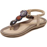 JIANKE Sandales Femme Plates Été Bohème Sandales Confortables Chaussures pour Plage Vacances