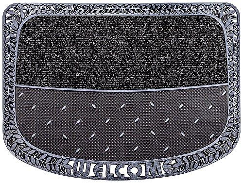 CarFashion 257190 PUR, TwinClean - Fussmatte, Türmatte, Fußabtreter, Schmutzfangmatte, Sauberlaufmatte, Graphit-Metallic Oberfläche, Scraper-Noppen mit robustem Textilbelag, Größe ca. 75 x 57 cm