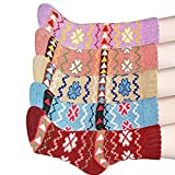 HAND SPINNER Femmes Laine 5 Paires Hiver Chaussettes pour Trekking Camping Sportive...