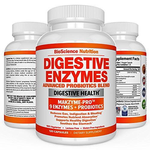 BioScience Nutrition Digestive Enzymes with Probiotics MULTI ENZYME Nutritional Supplement Acidophilus Bromelain Papaya Papain Lipase 120 Pills