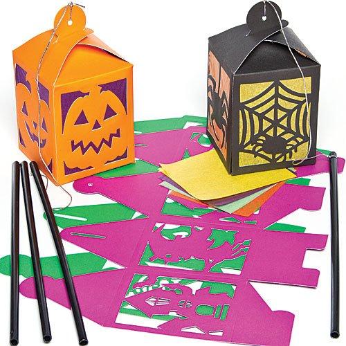 Halloween Laternen aus Papier zum Basteln für Kinder mit Transparentpapier und zum Dekorieren - (4 Stück)