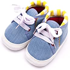 Infano Laces Style Backside Stripes Print Baby Shoes New (6-12 months,1 Pair)