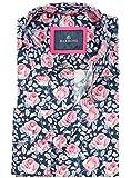Barbons Freizeit Hemd Herren Technologie - Digital Print - Langarm Hawaiihemd Bügelfrei Mehrfarbig Modern Fit Blumen Pink Lila Muster-XL