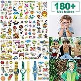 Kinder Tattoo Set, MMTX 180Pz Temporäre Jungen Tattoo Aufkleber Sticker Geburtstagsfeier Geschenk Taschen Spielzeug, Tier, Dinosaurier,Piraten Kindergeburtstag Spielen (15 Blatt)