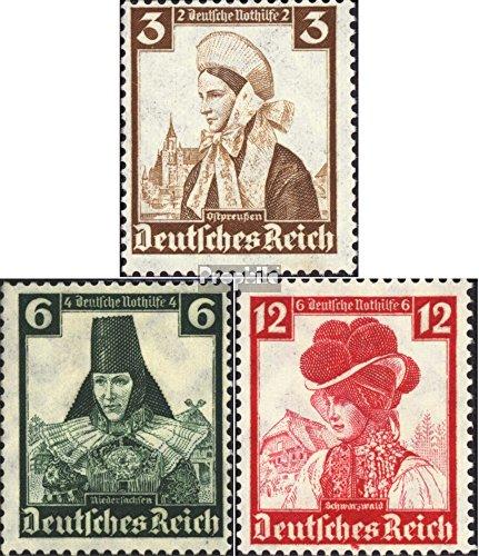 Deutsches Reich 588,591,593 1935 Nothilfe:Volkstrachten (Briefmarken für (Volkstrachten Französische)