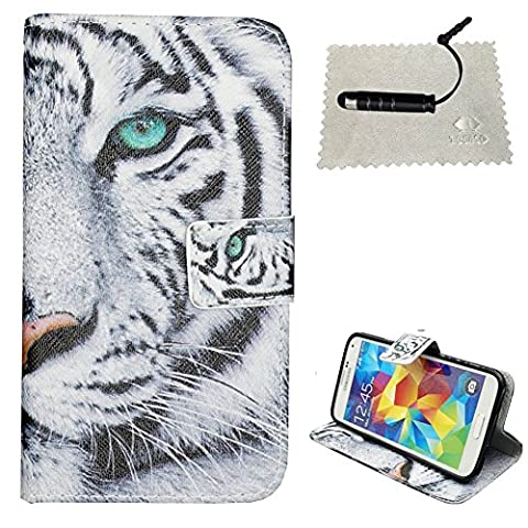 Samsung Galaxy S5 Flip Case,Galaxy S5 Wallet Case,Samsung Galaxy S5 Cover,TOCASO Tiger Gray Patterned Colorful Foldable Kickstand Protective Case with ID Card Holder Slots Pouch Magnet Closure for Samsung Galaxy S5 SV Folio PU Leather Flip Wallet Cases Bookstyle Scratch Resistance Soft Back Cover