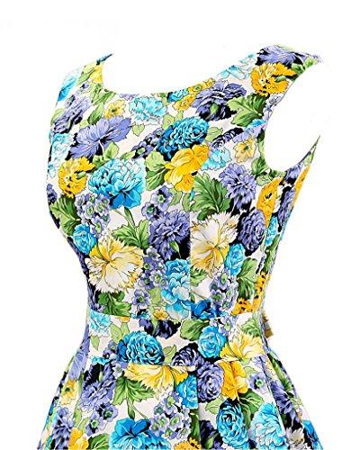 MISSMAO Femmes Hepburn Style Rockabilly Sans Manches Floral Style Halter Rétro 1950's Robe de Cocktail Bleu & Violet Floral
