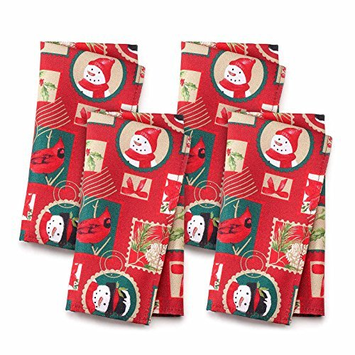 St. Nicholas Square 50,8cm Christmas Stoff Servietten 4Pack, Weihnachtsbriefmarke 4pk Servietten