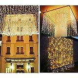 LE Lichterkette, LED Lichterkettenvorhang 306 LEDs, 8 Modi 3m x 3m Sternen LED Lichterketten,Warmweiß, ideal für Weihnachtsdeko, Deko, Party, Hochzeit usw. Test