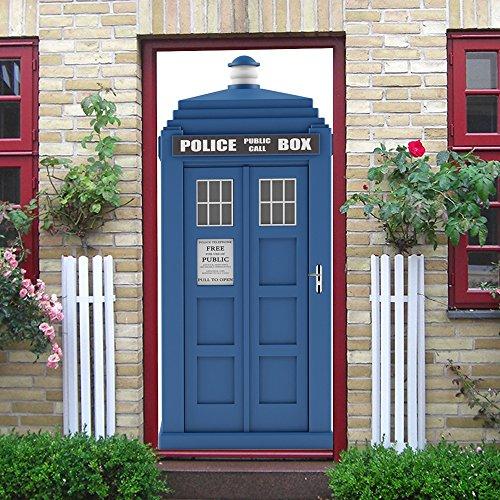 BESTHINKY Tür-Wandaufkleber Police Call Box - Wasserdichte PVC Selbstklebende Peel & Stick Repositionierbarer Stoff Wandbild 77 x 200 cm - 0132 Laptop