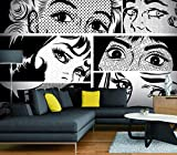 GIALLO BUS - TAPETEN STICKER - POP ART - EYES BLACK AND WHITE - 180X130 CM