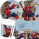 Procos/Carpeta Ensemble 62 pièces Set de fête Spiderman Web Warrior avec Assiette, gobelet, Serviettes, Nappe et décoration pour Enfants, Anniversaire, Anniversaire, fête des Enfants