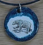Echtes Kunsthandwerk: Toller Keramik Anhänger mit einem Eisbären; Raubtiere, Bären, Arktis, Braunbär, Kodiakbär, Manitoba, Kanada, Spitzbergen, Polarbär