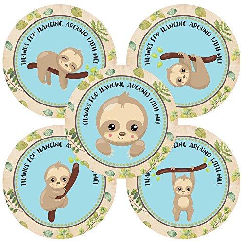 orations - EU Faultier Tier danken Ihnen Aufkleber Aufkleber - Geburtstags-Baby-Duschen-Party für Jungen im Blau - Set 30 ()
