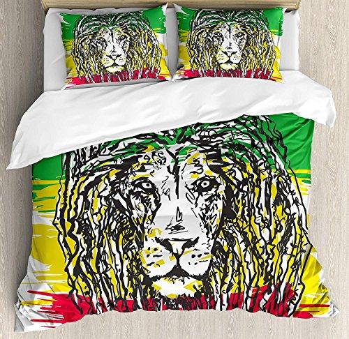 Rasta 3 Stück Bettwäsche Set Bettbezug Set, Äthiopische Afrikanische Kultur Frisur Löwenkopf Portrait Grunge Hintergrund, 3 Stück Tröster / Qulit Cover Set mit 2 Kissenbezügen, Grün, Gelb und Rot -