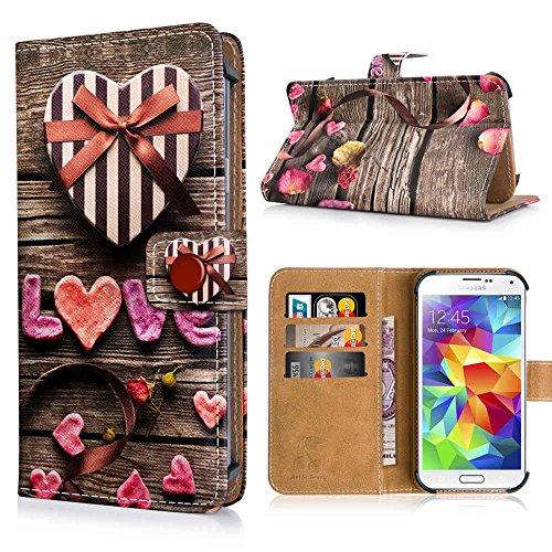Blackberry Leap Handytasche mit Standfunktion, Magnetverschluss & Kreditkartenfächern. Schutzhülle Tasche Case Brieftasche Handyhülle / LIEBE