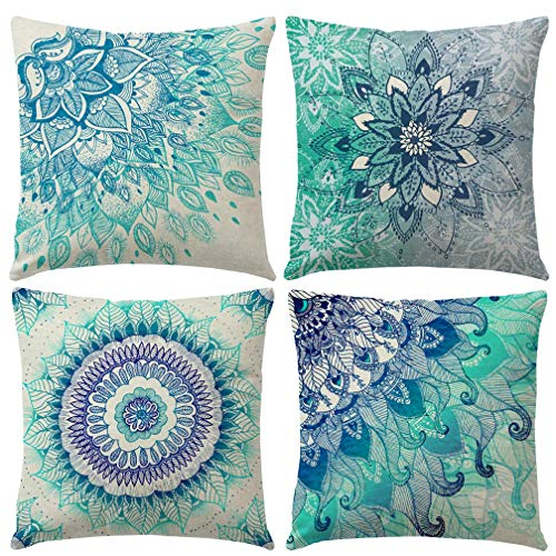 Gspirit 4 Pack Bohemia Mandala Algodón Lino Throw Pillow Case Funda de...