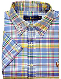Polo Ralph Lauren - Homme - Short-Sleeve Check Plaid Oxford Shirt Chemise Casual - Manche Courte