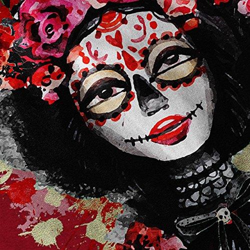 Rose Zucker Tot Schädel Blume Rose Damen Schwarz S-2XL Muskelshirt | Wellcoda Rot