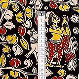 #8: Shopolics 2.5 Meter Red Yellow and White Village Pattern Kalamkari Cotton Fabric