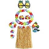Hula Dancer Disfraz,Hula Juego de Falda de Hierba, Incluye Pulsera Diadema Collar de Flores Hierba Clip de Pelo Hibisco,Hula