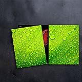 DAMU Herdabdeckplatten 2 x 40 x 52 cm Ceranfeldabdeckung Schutz Herdblende 80x52 2teilig Glas Spritzschutz Abdeckplatte Glasplatte Herd Ceranfeld Abdeckung Schneidebrett Abstrakt Wasser Grün