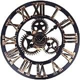 Hylaea Silencieux Non-Ticking Dessins Faits à La Main En Bois 3D Gear Design Art Industriel Cadeau Rond Horloge Murale 40CM Or Avec Chiffres Romains