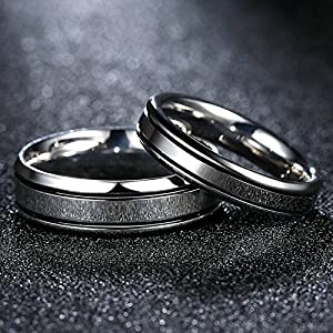 SanJiu Jewelry Couple Ring Wedding Rings Stainless Steel Ring Wheel Pattern Friendship Promise Anniversary Engagement Charm Ring for Women and Men Silver