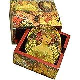 Caja con 6 portavasos de madera hecha a mano, homenaje a Alfons Mucha, Las cuatro estaciones