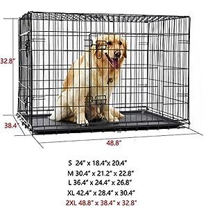 PAWZ Road Caisse pliante pour chien Cage pliante chien chenil pour animal de compagnie Cage avec 2 portes et plateau plastique Caisse chien pour coffre pour le gros chien 5 tailles completes