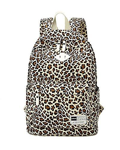 Schulrucksack Vintage Canvas Rucksack Schultaschen Daypacks Leopard Druck Schulranzen Mädchen Weiß Braun
