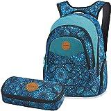 DAKINE 2er SET Rucksack Schulrucksack Laptoprucksack 25l PROM + SCHOOL CASE Mäppchen Blue Magnolia