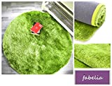 Hochflor Teppich Gentle Luxus Grün-Apfel-Smoothie / Seidig und Flokati-Weich (80cm rund)