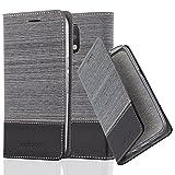 Cadorabo Hülle für Motorola Moto G4 / Moto G4 Plus - Hülle in GRAU SCHWARZ – Handyhülle mit Standfunktion und Kartenfach im Stoff Design - Case Cover Schutzhülle Etui Tasche Book